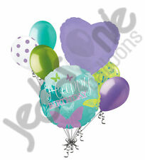 7 pc Happy Birthday Butterfly Balloon Bouquet Decoration Purple Turquoise Aqua