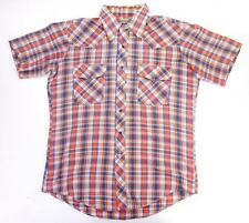 MENS RED BLUE SHORT SLEEVED COTTON 70s COLLARED CHECK SHIRT by JINGLERS (sz L)