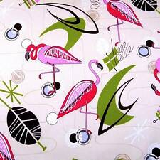 Miami Style Art Deco Print Cotton Fabric, Pink Flamingos on Pale Cream, BTHY