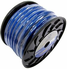 Bullz Audio 1/0 Gauge 25 Foot Xtreme Twisted Pro Power Ground Wire Cable, Blue
