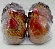 Salt And Pepper Set Ceramic Turkey 3 inch Thanksgiving Christmas Holiday New