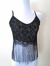 VTG BoHo Coachella Rock n Roll CHIC Sheer Black Silver Fringe S Crop Tank Top