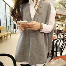 New Women's V-neck Sweater Vest Sleeveless Knit Tops Casual Loose Long Jacket