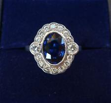 18ct white gold art deco design 1.50ct Sapphire and Diamond cluster panel ring