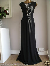 BN MONSOON BLACK MEDUSA BEADED EMBELLISHED JEWELLED MAXI DRESS XMAS CRUISE 14
