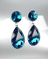 GLITZY Blue Zircon Czech Crystals Bridal Queen Pageant Prom Earrings