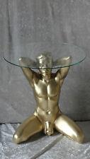 Tisch Mann Akt Glas Couchtisch Beistelltisch Dekoration Skulptur Erotik Gold NEU