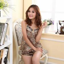 Women Silky Leopard Pajama Lingerie Nightwear Sleepwear Top + Shorts 2pcs Set