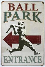 BALL PARK ENTRANCE VINTAGE STEEL SIGN Baseball NEW Vintage Repro Retro Metal USA