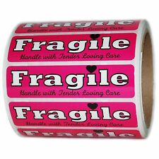 "Pink ""Fragile Handle with Tender Loving Care"" Labels Stickers  1"" by 4"" - 500 ct"