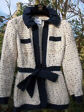 Gorgeous Moschino Iconic Boucle Jacket Cream Navy Blue Trim Bow Belt