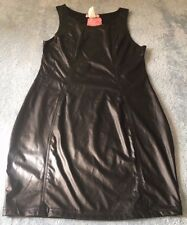 Supre Womens/Ladies Size L/14 BLACK Leather Look Party Dress - BNWT - ONE ONLY