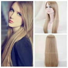 New Hot Women Blonde Hight Quality Fashion Long Straight Party Wigs +Cap