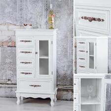 Schrank Glasvitrine Antik Look in Weiß Vitrinenschrank Konsole Anrichte Kommode