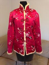 Women's Handmade Asian Oriental Red Brocade & Fur Lining Jacket Coat Sz 8-12
