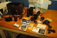 YASHICA FR 35MM FILM SLR CAMERA KIT RELEASED IN 1976 EXTRA LENSES, CASE & MORE