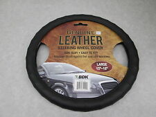 "BDK Genuine Leather Black Steering Wheel Cover Large 15""-16"" Universal"