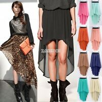 Women Double Layer Chiffon Pleated Retro Long Maxi Dress Elastic Waist Skirt Hot