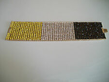 Mens gold finish hip hop fully stone 12 row black/yellow/clear bling bracelet