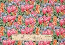 Easter Crocus Flowers Floral Novelty Cotton Fabric LAST 1.77 Yd