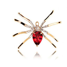 Luxury Coat Jacket Decoration Gold & Red Crystal Spider Animal Brooch Pin BR372