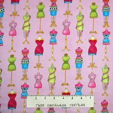 Sewing Fabric - Cute As A Button Mannequin Allover Pink - Henry Glass YARD
