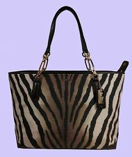 COACH 26881 Madison  Zebra Print  E/W Tote Bag Msrp $258.00
