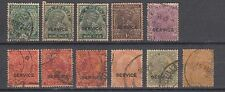 British India 1932 King George V Service Set of 11 Stamps Used Cat £ 11