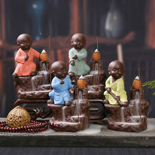 Little Monk Ceramic Crafts Cone Incense Burner Smoke Backflow Tower Stick Holder
