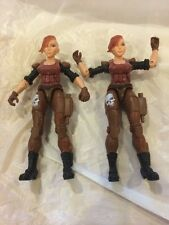 "TWO! Lanard 3.75"" Custom RARE FEMALE FIGURES GI JOE COMPATIBLE Soldier Mercenary"