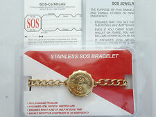 LADIES/MENS SOS BRACELET/MEDICAL ALERT/EMERGENCY/GOLD STAINLESS STEEL TALISMAN