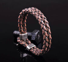 G25 NEW Surfer Double 6mm Braided PU Leather Bracelet Wristband Men's Cuff Brown