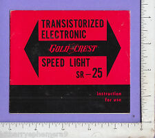 8476 Transistor Electronic Gold Crest Speed Light SR-25 c1965 manual photography