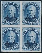 #185P3 5¢ BLUE BLOCK OF 4 PLATE PROOF ON INDIA PAPER BT3080