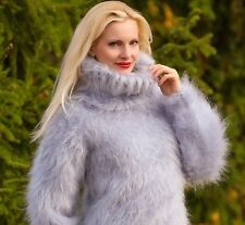 SUPERTANYA GREY Hand Knitted Mohair Sweater FUZZY Turtleneck Unisex Pullover