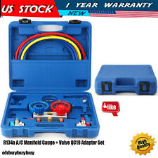 A/C Manifold Gauge Set | R134a HVAC Colored Hose Air Conditioner Aluminum Brass