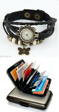 SDSK VINTAGE  LEATHER WOMEN WRIST LADIES WATCH - BUTTERFLY  BLACK + ALUMA WALLET