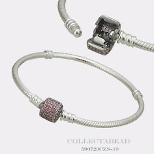 "Authentic Pandora Silver Bracelet Signature Clasp Fancy Pink CZ 6.7""  590723CZS"