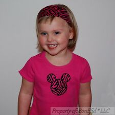 BonEful RTS NEW Boutique 3 4 GIRL Minnie Mouse Zebra Head Pink Top Headband SET