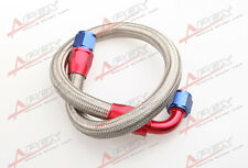 "24"" 90° 8AN SS Braided Racing Performance Oil Fuel Coolant Line Hose Assembly"