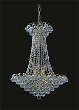 "Crystal GOLD Chandelier w/ 12-Lights LARGE (D21"" x H28"") Ceiling Fixture"