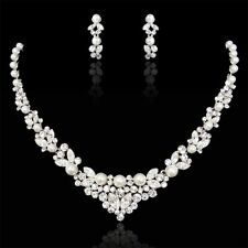 Bridal Wedding Necklace Earring Set Clear Swarovski Crystal Ivory Pearl