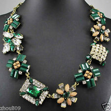 2014 New Design Lady Bib Statement clear crystal multi chunky chain necklace