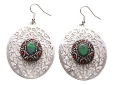 Intricate Chrome Floral Cut Out/dark Green & Black Centre Oval Earrings(Ns9)