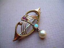 Antique Art Nouveau Rose & Yellow Metal Brooch Ruby, Opal and Pearl.