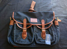RALPH LAUREN POLO MESSENGER BAG, NAVY BLUE NYLON AND TAN LEATHER - NEW