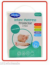 ❤ 2 x Cotton Jersey PLAYGRO Cradle Portacot WATERPROOF MATTRESS PROTECTOR Twin ❤
