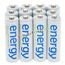 12x AAA 3A 2000mAh 1.2V Ni-Mh Energy Rechargeable Battery White Cell for RC MP3