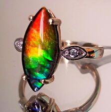 Ammolite (15.00 x 7.00)mm 10K Gold Ring, Size 7, Certificate