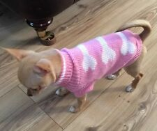 Chihuahua (XS-Small) Knitted Jumper Pink & Dog Bones Clothes Knitted Dog Jumper